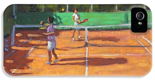 Net iPhone 5 Cases - Tennis practice iPhone 5 Case by Andrew Macara