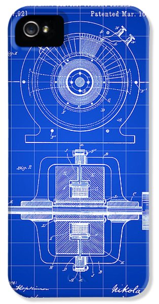 Conducting iPhone 5 Cases - Tesla Alternating Electric Current Generator Patent 1891 - Blue iPhone 5 Case by Stephen Younts