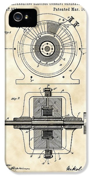 Tesla Alternating Electric Current Generator Patent 1891 - Vintage IPhone 5 / 5s Case by Stephen Younts