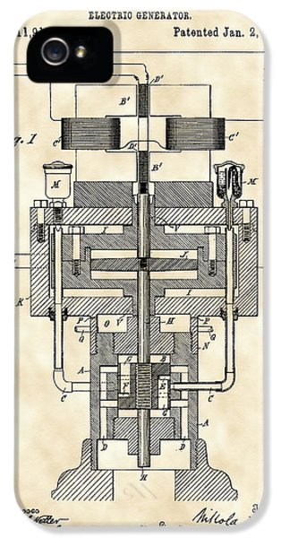 Tesla Electric Generator Patent 1894 - Vintage IPhone 5 / 5s Case by Stephen Younts
