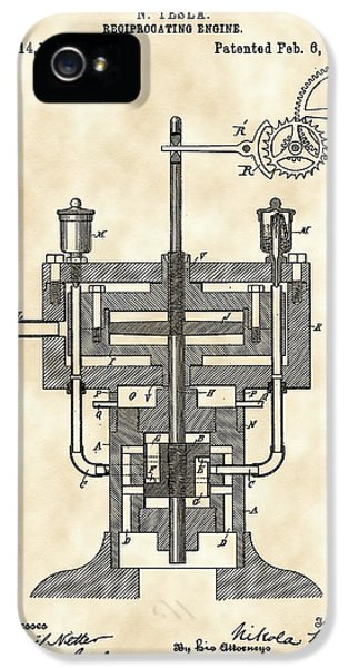 Conducting iPhone 5 Cases - Tesla Reciprocating Engine Patent 1894 - Vintage iPhone 5 Case by Stephen Younts