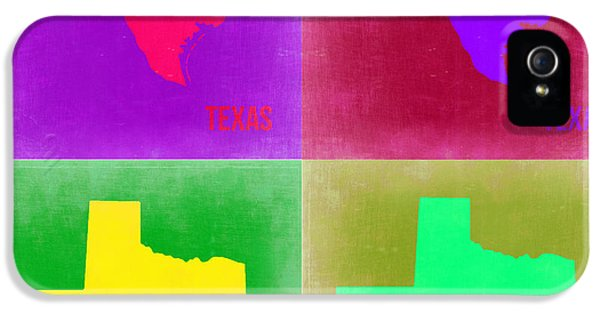 Texas iPhone 5 Cases - Texas Pop Art Map 2 iPhone 5 Case by Naxart Studio