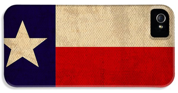 Texas iPhone 5 Cases - Texas State Flag Lone Star State Art on Worn Canvas iPhone 5 Case by Design Turnpike