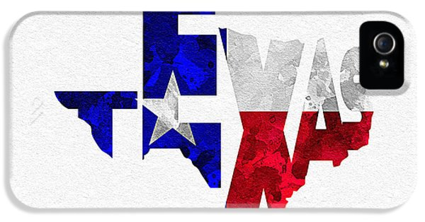 Dirty iPhone 5 Cases - Texas Typographic Map Flag iPhone 5 Case by Ayse Deniz