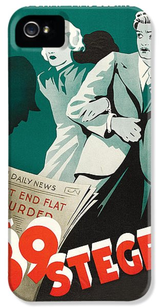 British Crime Film iPhone 5 Cases - The 39 Steps - 1935 iPhone 5 Case by Nomad Art And  Design