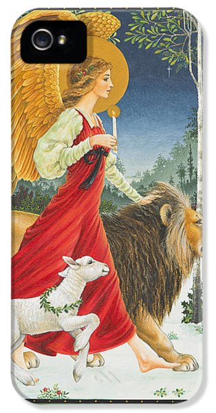 Angel iPhone 5 Cases - The Angel The Lion and The Lamb iPhone 5 Case by Lynn Bywaters