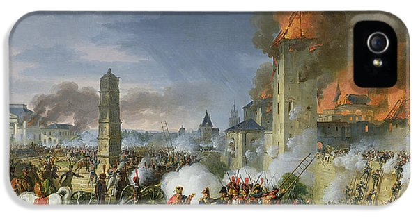 Ladder iPhone 5 Cases - The Attack And Taking Of Ratisbon, 23rd April 1809, 1810 Oil On Canvas iPhone 5 Case by Charles Thevenin