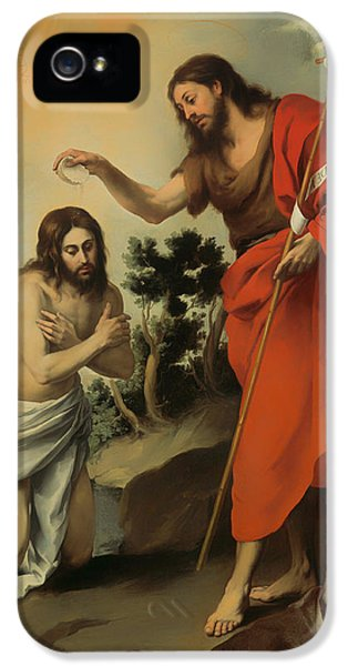 Baptize iPhone 5 Cases - The Baptism of Christ iPhone 5 Case by Bartolome Murillo