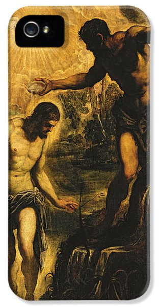 John The Baptist iPhone 5 Cases - The Baptism of Christ iPhone 5 Case by Jacopo Robusti Tintoretto