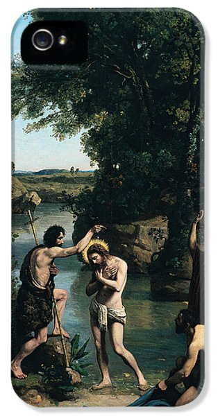 Baptize iPhone 5 Cases - The Baptism of Christ iPhone 5 Case by Jean Baptiste Camille Corot