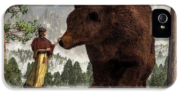 Native American Woman iPhone 5 Cases - The Bear Woman iPhone 5 Case by Daniel Eskridge