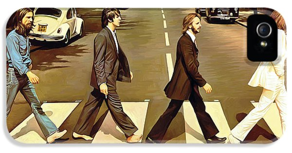 The Beatles iPhone 5 Cases - The Beatles Abbey Road Artwork iPhone 5 Case by Sheraz A