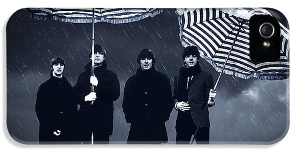 Ringo Starr iPhone 5 Cases - The Beatles in the rain iPhone 5 Case by Aged Pixel