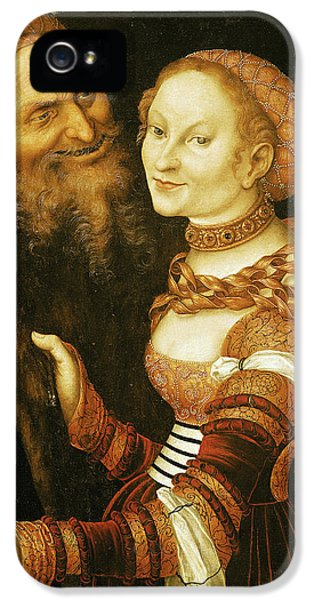 Ill iPhone 5 Cases - The Courtesan And The Old Man, C.1530 Oil On Canvas iPhone 5 Case by Lucas, the Elder Cranach