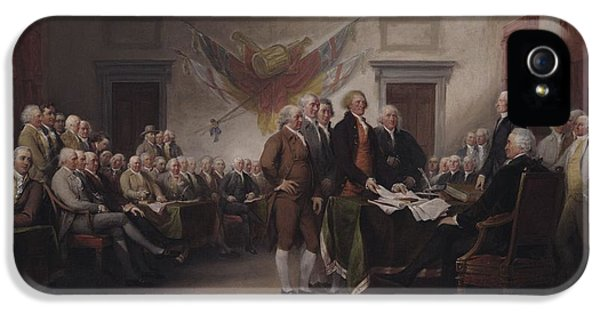 Declaration iPhone 5 Cases - The Declaration Of Independence, July 4, 1776, 1817 Oil On Canvas iPhone 5 Case by John Trumbull