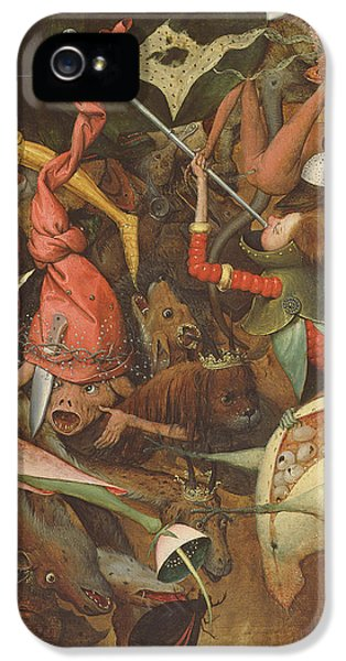 Monster iPhone 5 Cases - The Fall Of The Rebel Angels, 1562 Oil On Panel Detail Of 74037 iPhone 5 Case by Pieter the Elder Bruegel