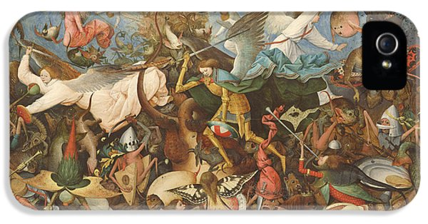 Monster iPhone 5 Cases - The Fall Of The Rebel Angels, 1562 Oil On Panel iPhone 5 Case by Pieter the Elder Bruegel