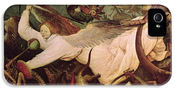 Horror iPhone 5 Cases - The Fall Of The Rebel Angels, Detail Of The Angel On The Left Hand Side, 1562 Oil On Panel iPhone 5 Case by Pieter the Elder Bruegel