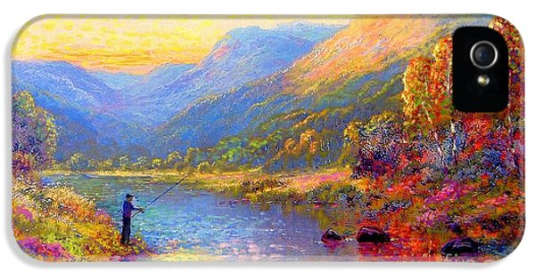 Colourful iPhone 5 Cases - Fishing and Dreaming iPhone 5 Case by Jane Small