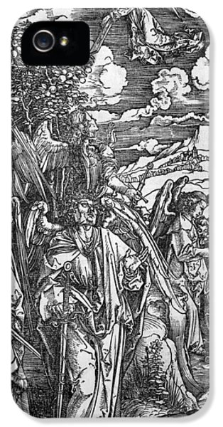 Revelations iPhone 5 Cases - The Four Angels holding the winds iPhone 5 Case by Albrecht Durer or Duerer