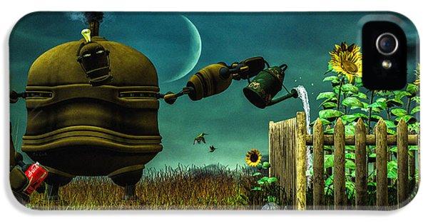 Robot iPhone 5 Cases - The Gardener iPhone 5 Case by Bob Orsillo