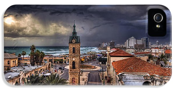 Judaica iPhone 5 Cases - the Jaffa old clock tower iPhone 5 Case by Ronsho