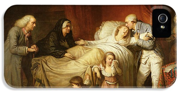 Husband iPhone 5 Cases - The Last Moments Of The Beloved Wife, 1784 Oil On Canvas iPhone 5 Case by Pierre Alexandre Wille