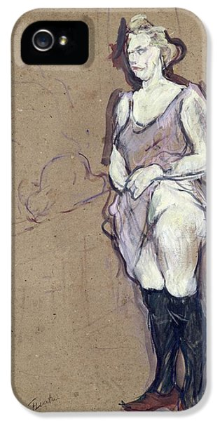 Diseased iPhone 5 Cases - The Medical Inspection Blonde Prostitute, 1894 Oil On Card iPhone 5 Case by Henri de Toulouse-Lautrec