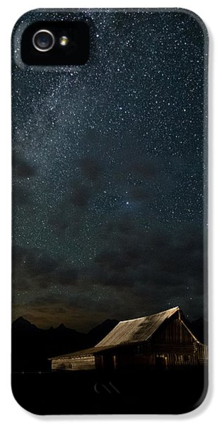 Moon iPhone 5 Cases - The milky way on Moulton Barn - Grand Teton National Park iPhone 5 Case by Andres Leon