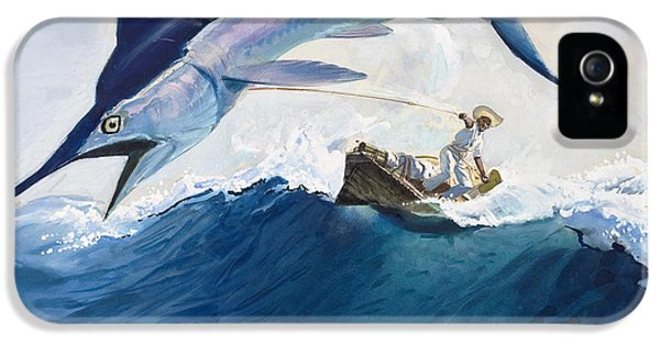 Male iPhone 5 Cases - The Old Man and the Sea iPhone 5 Case by Harry G Seabright