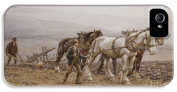 Agricultural iPhone 5 Cases - The Ploughman Wilmington Polegate Near Eastbourne iPhone 5 Case by Joseph Harold Swanwick