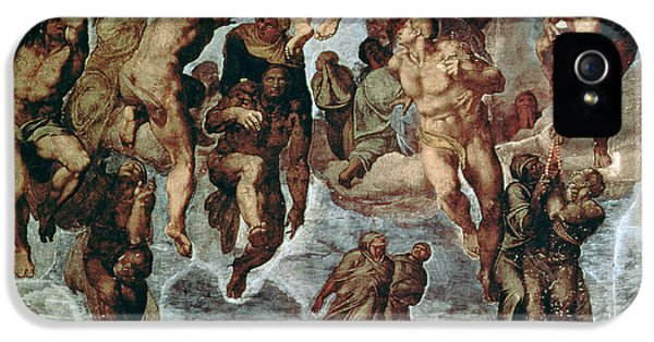 Revelations iPhone 5 Cases - The Righteous Drawn Up To Heaven, Detail From The Last Judgement, In The Sistine Chapel, C.1508-12 iPhone 5 Case by Michelangelo Buonarroti