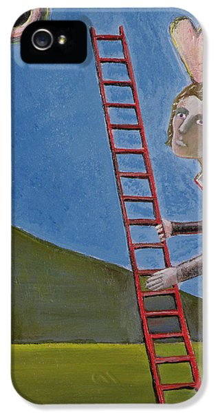 Ladder iPhone 5 Cases - The Rise Of Icarus, 1989 Oil On Canvas iPhone 5 Case by Celia Washington