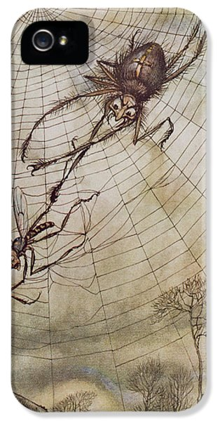 Spider iPhone 5 Cases - The Spider and the Fly iPhone 5 Case by Arthur Rackham