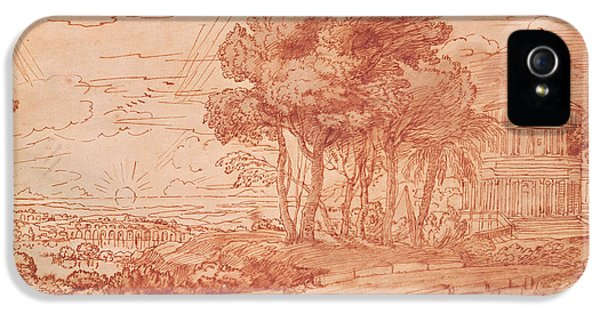 Classical iPhone 5 Cases - The Temple Of Apollo On The Island Of Delos, C.1648 Pen, Wash & Bistre Ink iPhone 5 Case by Claude Lorrain