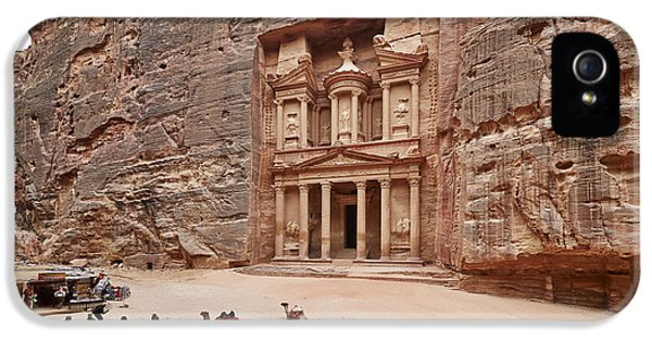 Al-khazneh iPhone 5 Cases - the treasury Nabataean ancient town Petra iPhone 5 Case by Juergen Ritterbach