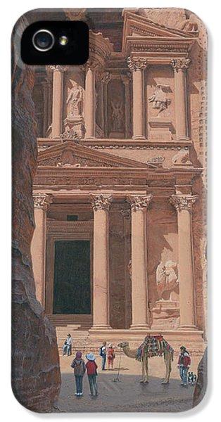 Al-khazneh iPhone 5 Cases - The Treasury Petra Jordan iPhone 5 Case by Richard Harpum