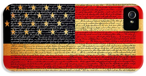 July 4th iPhone 5 Cases - The United States Declaration of Independence - American Flag - square iPhone 5 Case by Wingsdomain Art and Photography