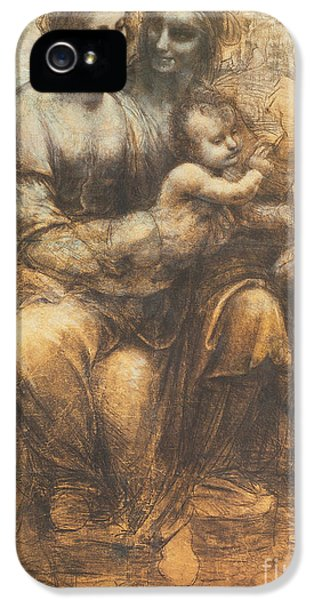 John The Baptist iPhone 5 Cases - The Virgin and Child with Saint Anne and the Infant Saint John the Baptist iPhone 5 Case by Leonardo Da Vinci