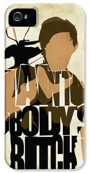 Pop Icon iPhone 5 Cases - The Walking Dead Inspired Daryl Dixon Typographic Artwork iPhone 5 Case by Ayse Deniz