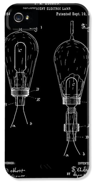 Electric Lamp (electric Light) iPhone 5 Cases - Thomas Edison Electric Lamp Patent - Black iPhone 5 Case by Finlay McNevin