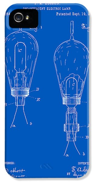 Electric Lamp (electric Light) iPhone 5 Cases - Thomas Edison Electric Lamp Patent - Blueprint iPhone 5 Case by Finlay McNevin