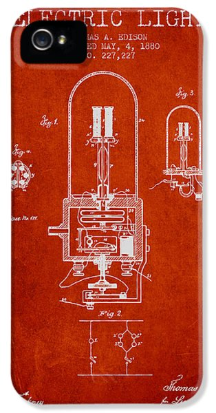 Electric Lamp (electric Light) iPhone 5 Cases - Thomas Edison Electric Light Patent from 1880 - Red iPhone 5 Case by Aged Pixel