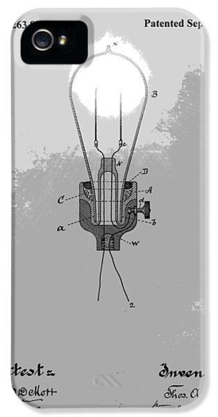 Electric Lamp (electric Light) iPhone 5 Cases - Thomas Edison Patent iPhone 5 Case by Dan Sproul