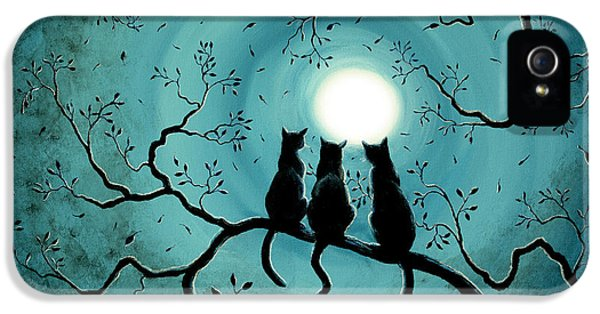 Halloween iPhone 5 Cases - Three Black Cats Under a Full Moon iPhone 5 Case by Laura Iverson