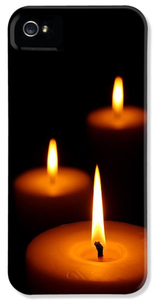 Burnt iPhone 5 Cases - Three Burning candles iPhone 5 Case by Johan Swanepoel
