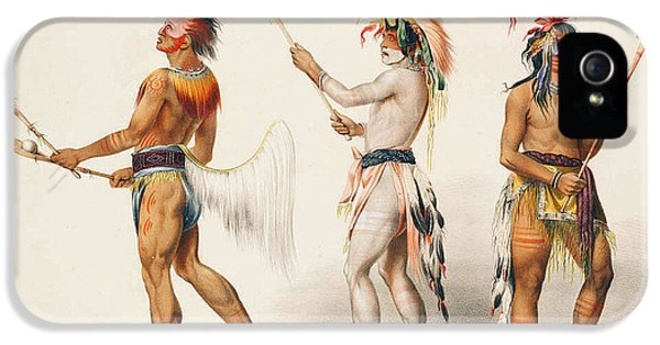 Three iPhone 5 Cases - Three Indians Playing Lacrosse iPhone 5 Case by Unknown