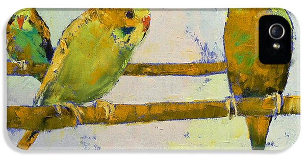 Three iPhone 5 Cases - Three Parakeets iPhone 5 Case by Michael Creese