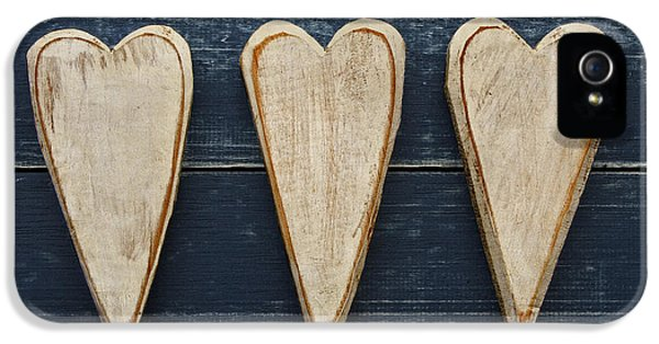 Three iPhone 5 Cases - Three Wooden Hearts iPhone 5 Case by Carol Leigh
