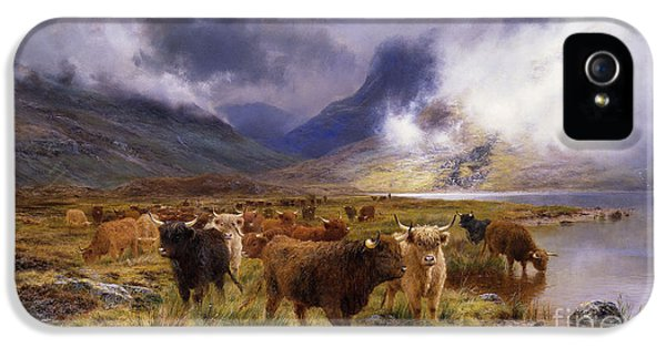 Livestock iPhone 5 Cases - Through Glencoe by  Way to the Tay iPhone 5 Case by Louis Bosworth Hurt